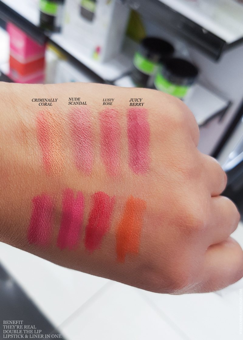 Benefit Theyre Real Double the Lip Lipstick and Liner In One - Swatches - Criminally Coral - Nude Scandal - Lusty Rose - Juicy Berry