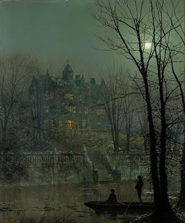 Knostrop Hall au clair de lune, vu de la rivière Aire. Un modèle de la manière de Grimshaw.