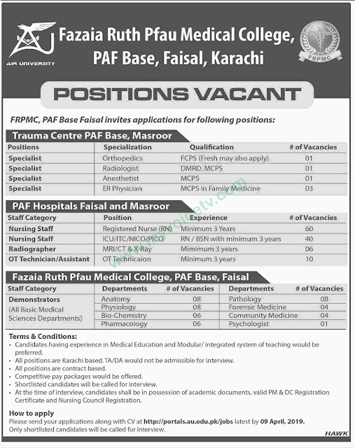 ➨ #Jobs - #Career_Opportunities - #Jobs for nurse, medical professionals at Fazaia Ruth Pfau Medical College PAF Karachi –for application visit the link