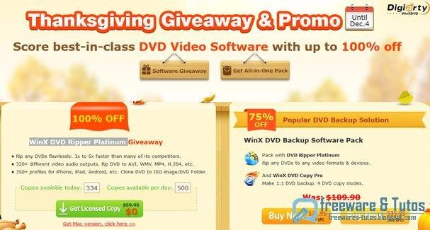Offre promotionnelle : WinX DVD Ripper Platinum pour Thanksgiving !