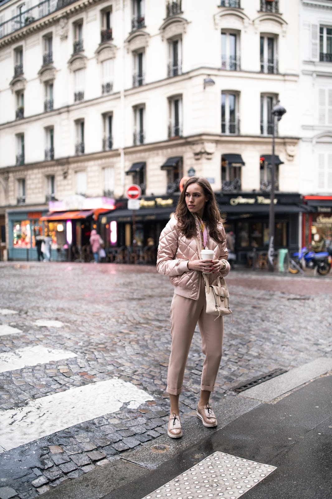 paris streetstyle pink bomber pink pants outfit spring