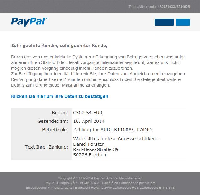 Paypal Verdächtige Zahlung Erkannt