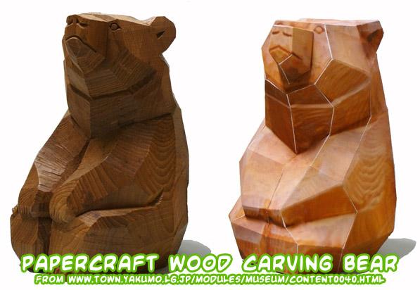 Ninjatoes papercraft we wood carving bear