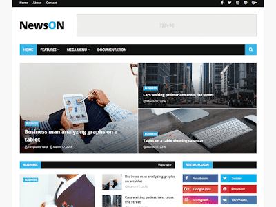 NewsOn Blogger Template is a premium looking in addition to professionally designed magazine blogger Free Download NewsOn Magazine Blogger Template