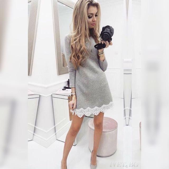 Μακρυμάνικο κοντό γκρι φόρεμα KATRINE GREY