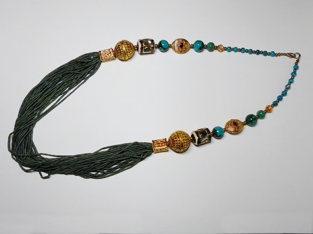 Tibetan style agate necklace with turquoise and gold plated brass beads