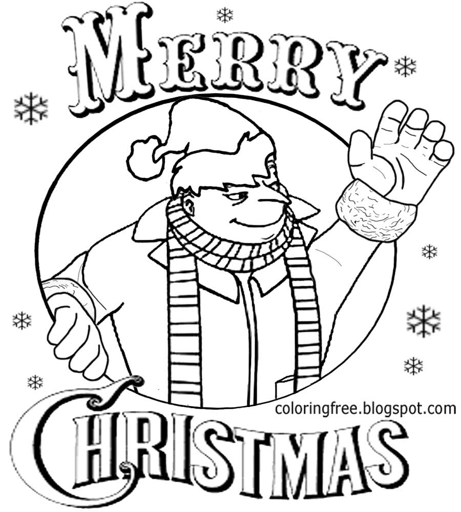 coloring minion pages with santa - photo#4