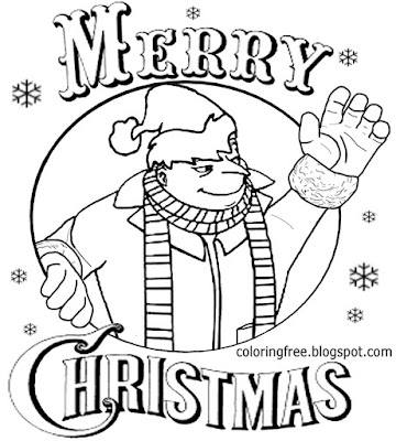 simple happy printable santa claws merry minion christmas coloring page for youngsters to illustrate