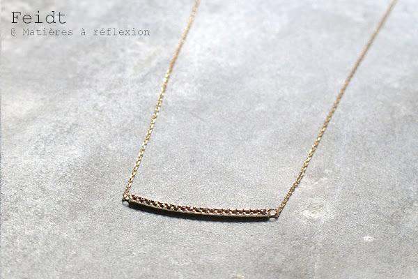 Collier Feidt bijoux Paris or jaune marcassites