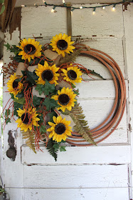 rope wreath with sunflowers