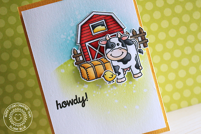 Sunny Studio Stamps: Barnyard Buddies Farm Themed Howdy Card by Eloise Blue