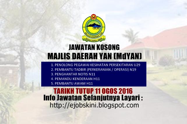 Jawatan Kosong Majlis Daerah Yan (Md Yan) Ogos 2016