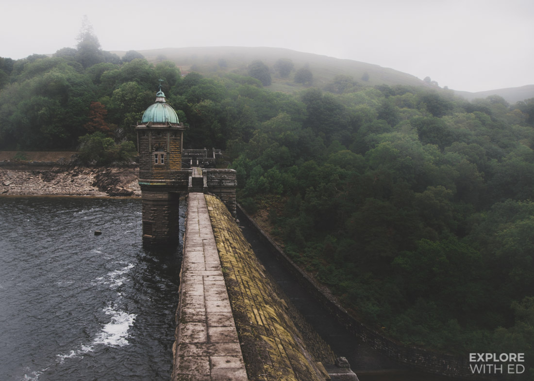 Pen y Garreg Dam and round house tower in The Elan Valley
