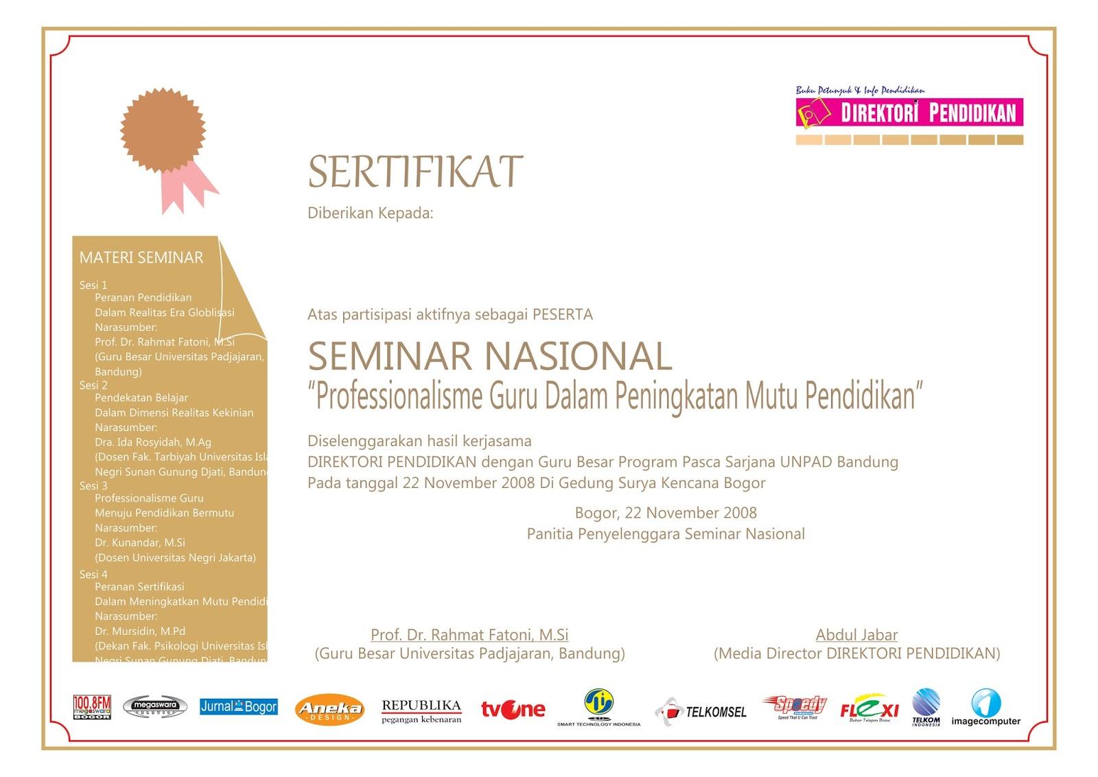Desain Sertifikat Seminar Nasional Desain Kampungan