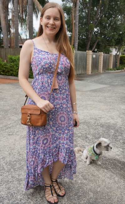 Jeanswest Sophia high-low maxi dress with tassel necklace and Rebecca Minkoff MAB Camera Bag in almond | awayfromblue