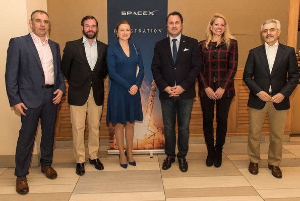 Hereditary Grand Duchess Stephanie and Hereditary Grand Duke Guillaume of Luxembourg visited GovSat company in Cape Canaveral in Orlando,Florida
