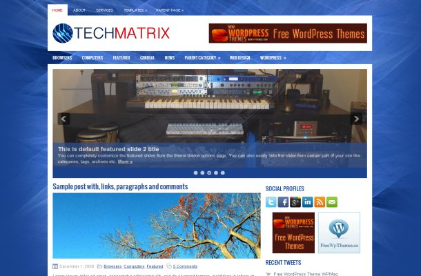 Free Matrix Blue Gadgets News Wordpress Theme