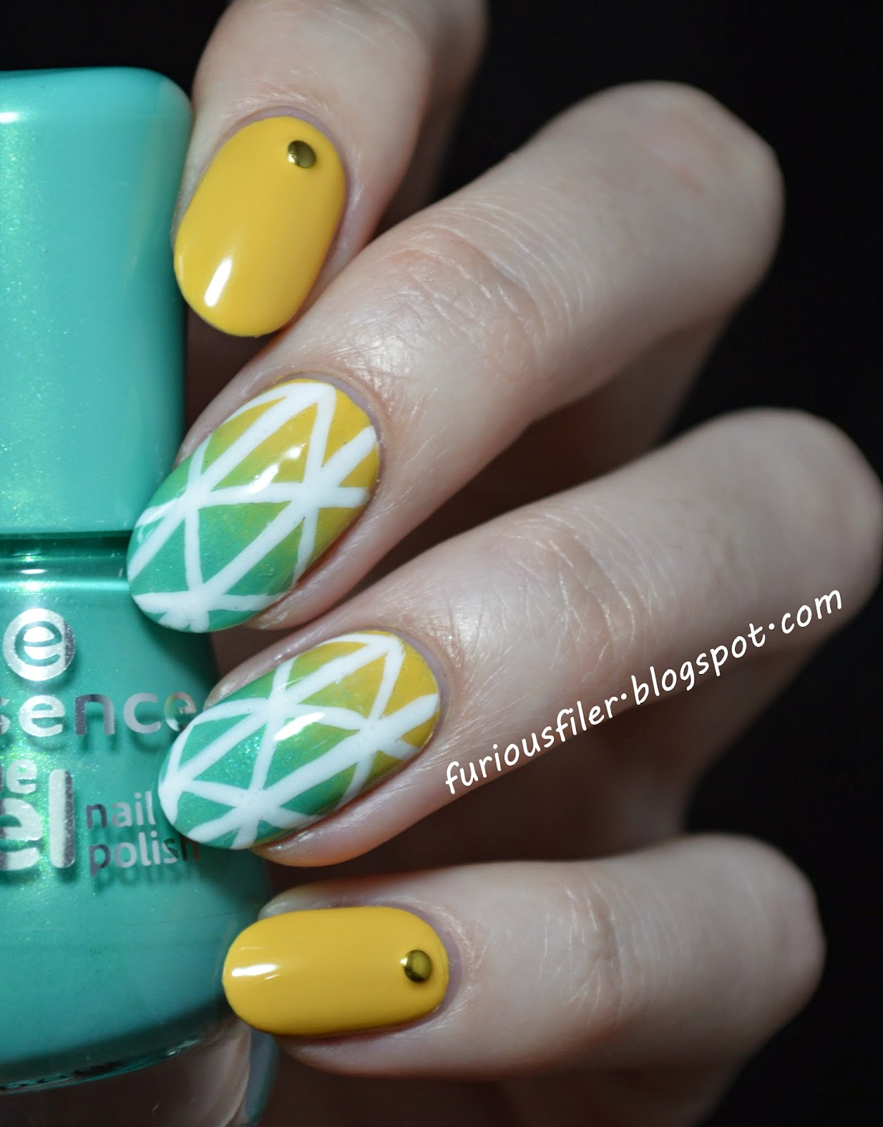 bright, colourful, studs, summer, nail art