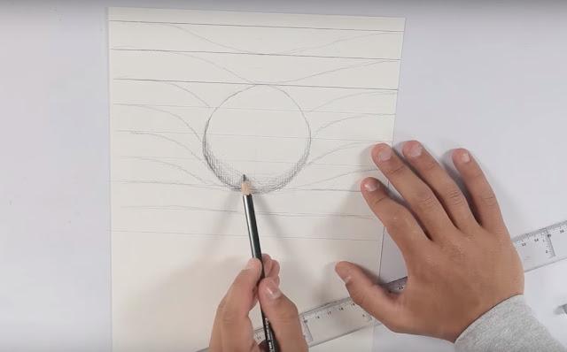 dibujo, esfera, lapiz, sombras