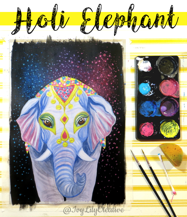 Want to paint an abstract splattered or smokey looking background with acrylics? I'll show you how to create it with sponge and splatter painting techniques I used on a Holi elephant watercolor and acrylic mixed media painting.