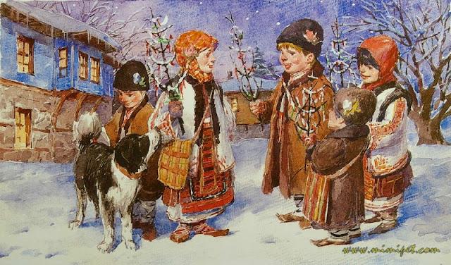 navidad bulgaria niños survachka