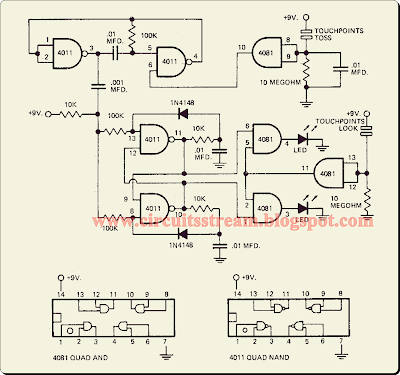 Simple Toss A Coin Binary Box Circuit Diagram