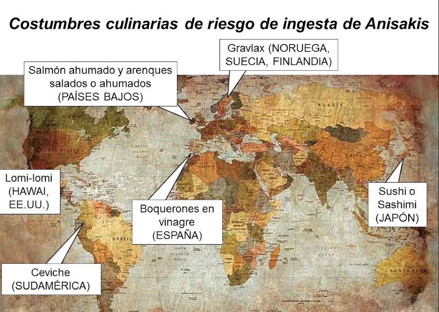 Costumbres culinarias de riesgo de ingesta de larva de Anisakis. Fuente: Jesús Jurado-Palomo