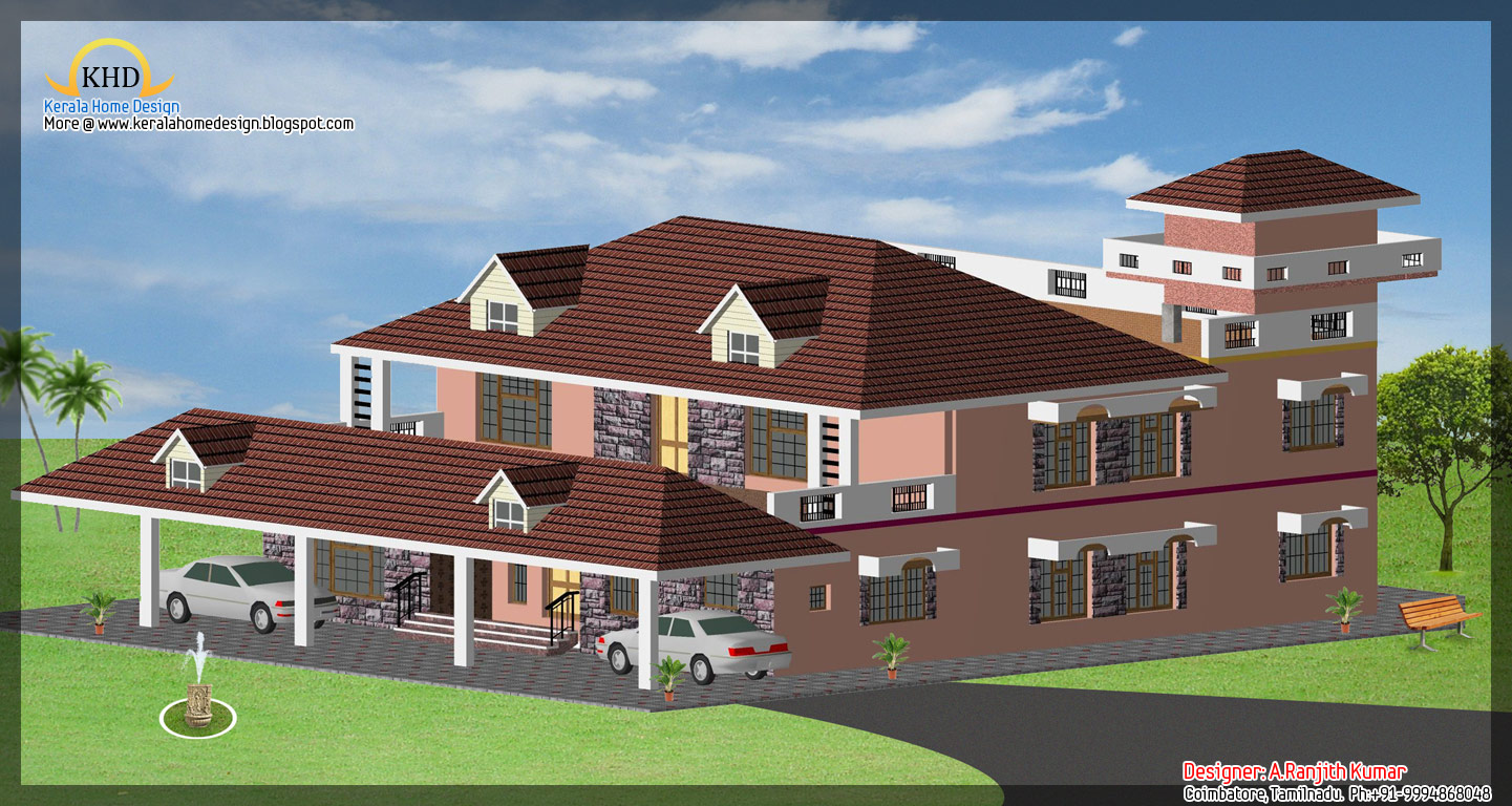 Front Elevation Square Feet : House elevations over sq ft kerala home design