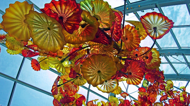 Huge glass flowers overhead in the museum...