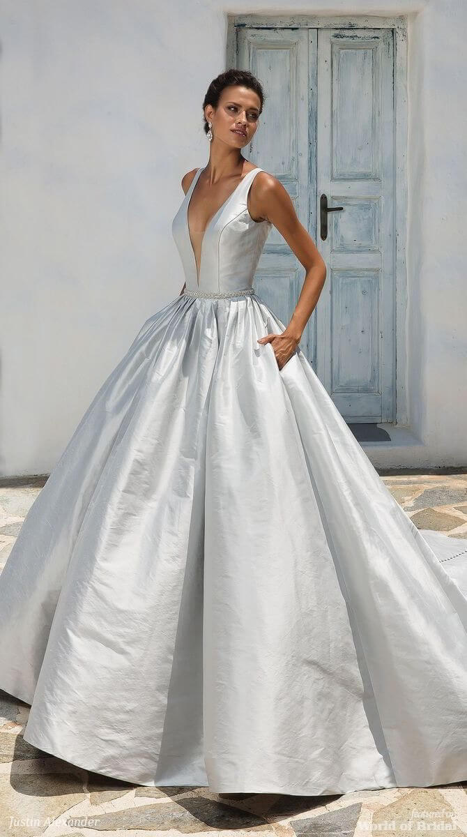 Justin Alexander Spring 2018 Silk Dupion Ball Gown with Plunging V-Neckline and Keyhole Back