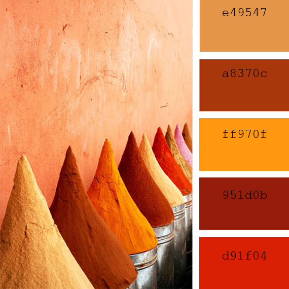 hot spices color palettes