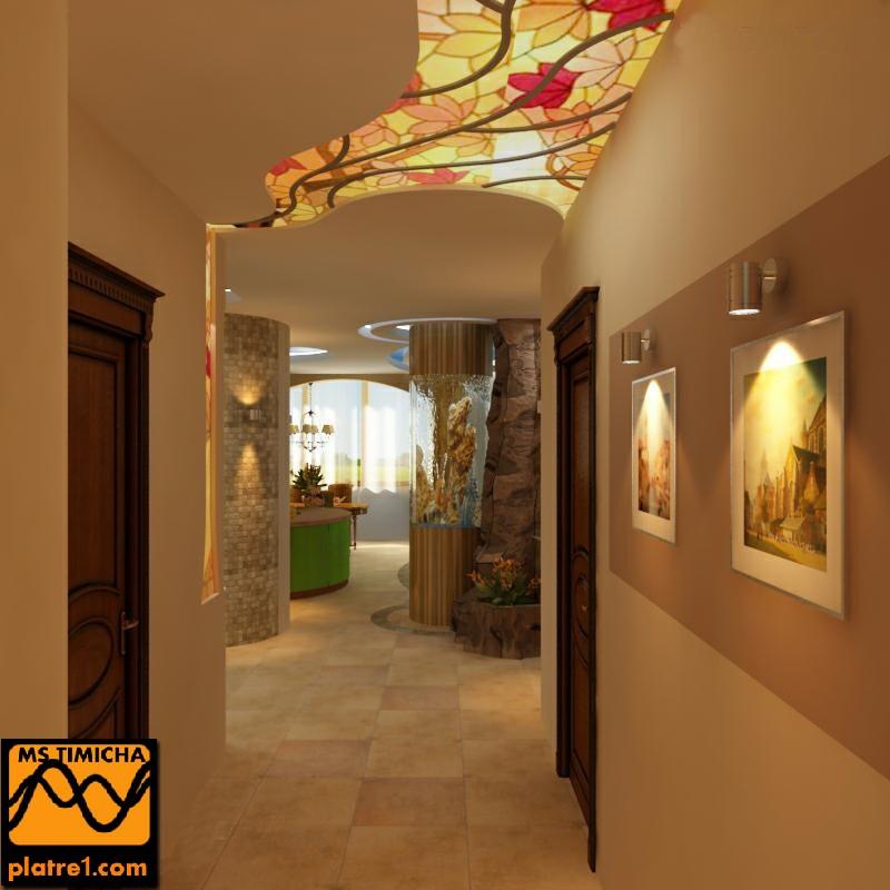 couloir moderne faux plafond platre marocain. Black Bedroom Furniture Sets. Home Design Ideas