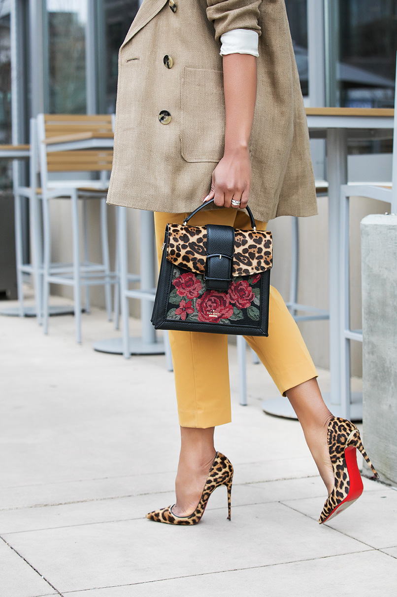 colored pants and leopard pumps, www.jadore-fashion.com