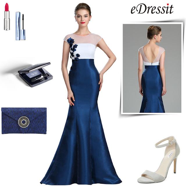 White & Blue Floral Mermaid Ladies Dress Ball Gown