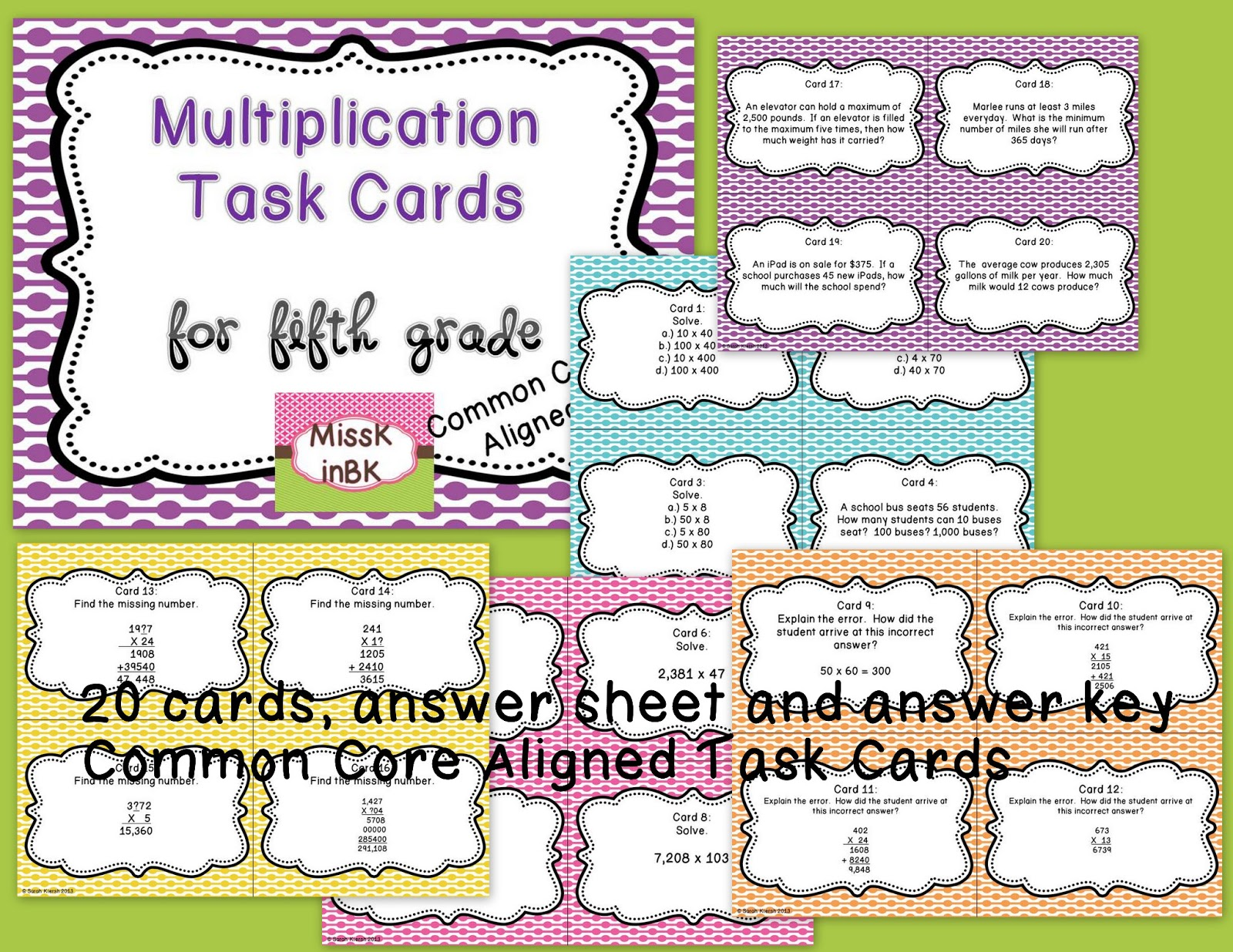 5th Grade Multiplication Word Problems