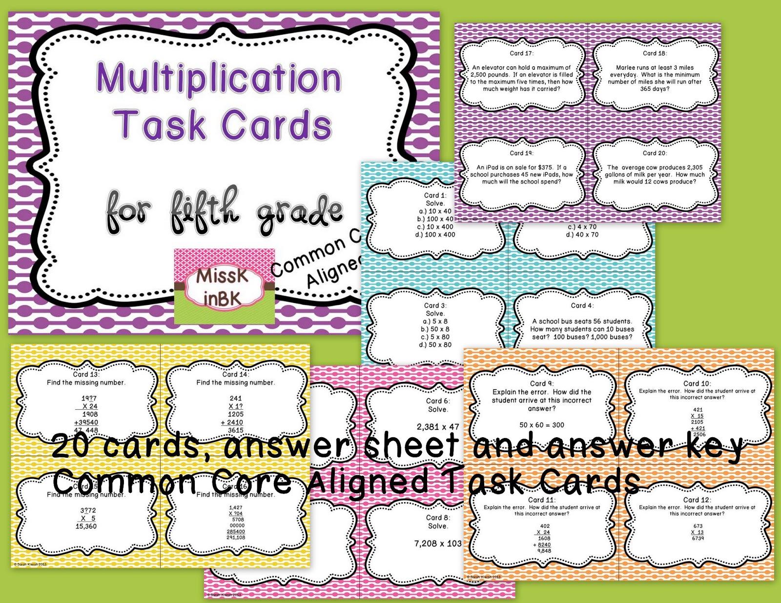 Multiplication Worksheet Grade 4 Common Core