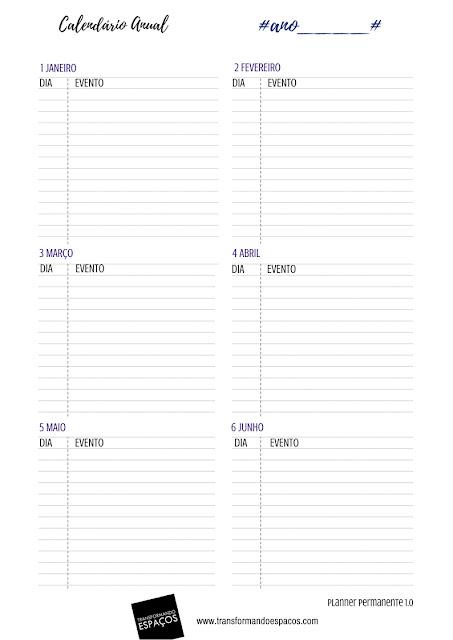 Calendário Anual - Planner Permanente TE 1.0