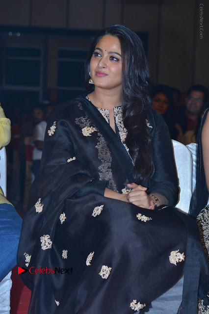 Actress Anushka Anushka Shetty Stills in Black Salwar Kameez at Om Namo Venkatesaya Audio Launch Event  0006.JPG