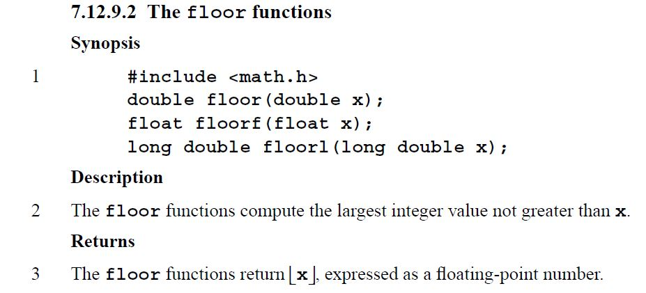 Lessons In Coding The Floor Function In C Amp C