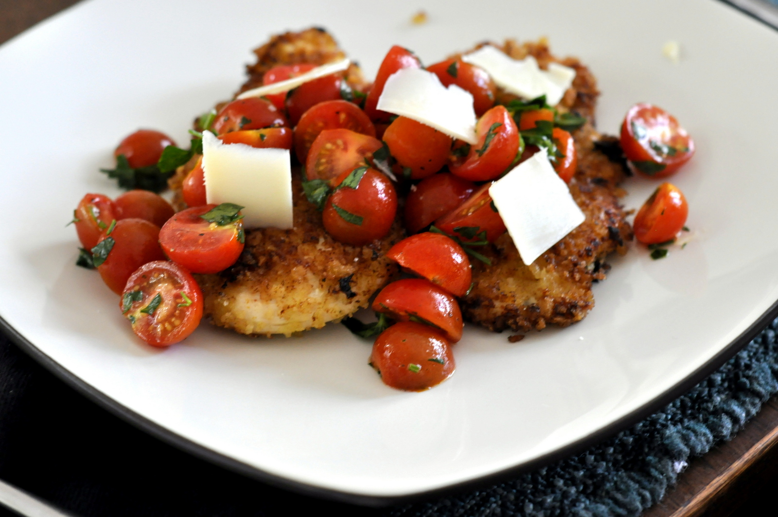 Spicy Chicken Milanese with Tomato Salad and Parmesan | Taste As You Go