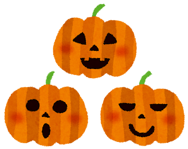ハロウィンのイラストかぼちゃのランタン3つ かわいいフリー