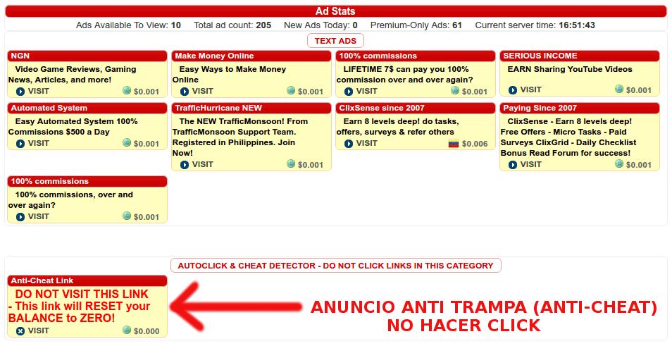 Anuncio Anti Trampa en BuxP