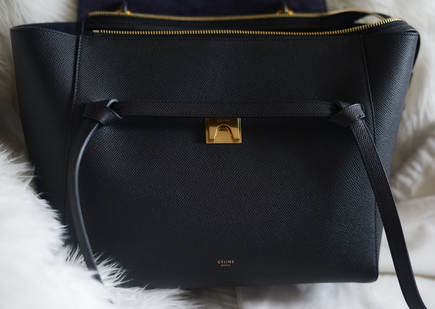 Celine Belt Bag Black Grained Leather | FOREVERVANNY.com