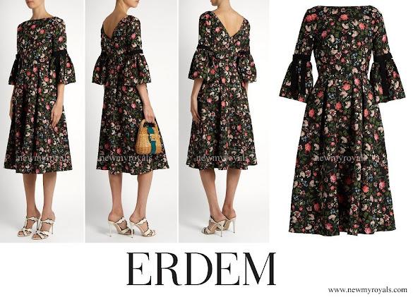 Princess Madeleine wore ERDEM Aleena floral print matelasse dress