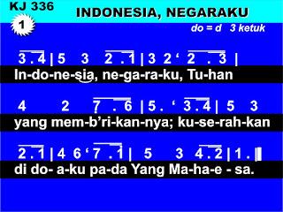 Lirik dan Not Kidung Jemaat 336 Indonesiaku, Negaraku