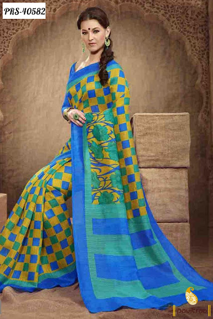 Pure Silk Blue Green Casual Saree