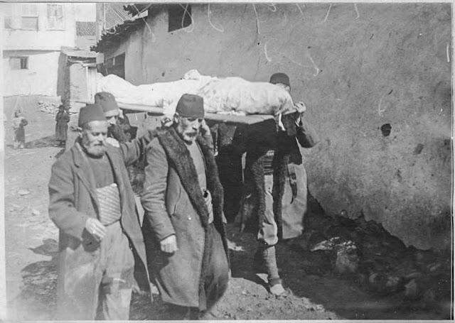 In the streets of Bitola (Monastir) - March 1917. The day after bombardment with asphyxiating gases: Transport of the bodies of a mother and her two sons