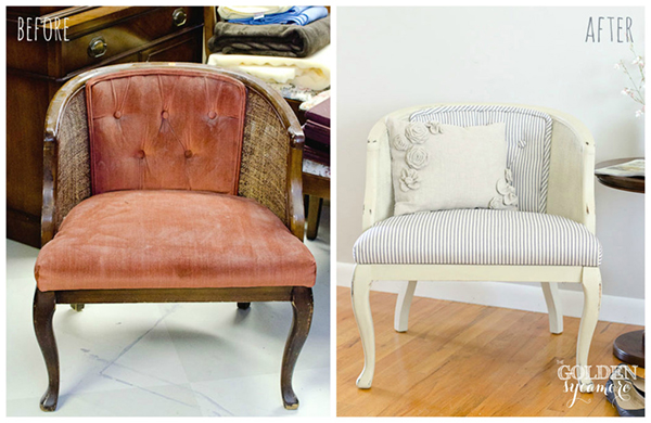 Tufted cane chair makeover tutorial -  If you loved painted furniture or are thinking about using Chalk paint on furniture for the first time then you should check this post full of 25 incredible makeoevers. 25 Fabulous painted furniture ideas!