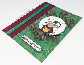 Linda Vich Creates: Merry Mice. One of the Merry Mice sings atop a holly-embossed matte, enriched with Inka Gold.