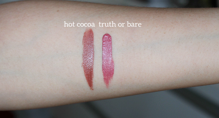 Marc Jacobs Beauty Le Marc Liquid Lip Crème truth or bare, Marc Jacobs Beauty Le Marc Liquid Lip Crème hot cocoa swatch